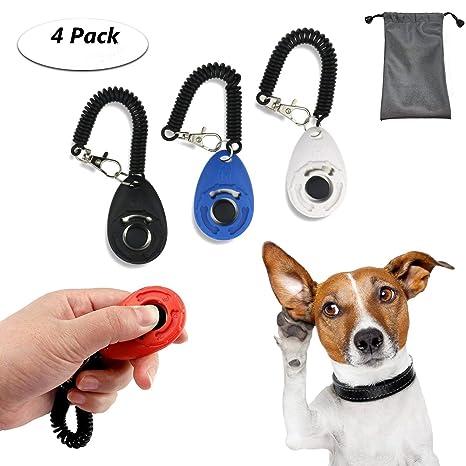 TedGem Clicker 4 piezas de adiestramiento para perros Clicker con correa de muñeca perro gato de caballo de aves mascotas formación de Clicker Set + ...
