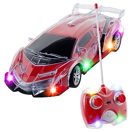 Amazon Com Light Up Rc Remote Control Racing Car 1 24 Scale Rc