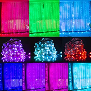 LED Multi Color Curtain String Lights Remote Control 16Color Changing Window Curtain Lights Backdrop Wall Lights for Wedding Party Bedroom Christmas Decor(RGB Copper Wire Curtain Lights)