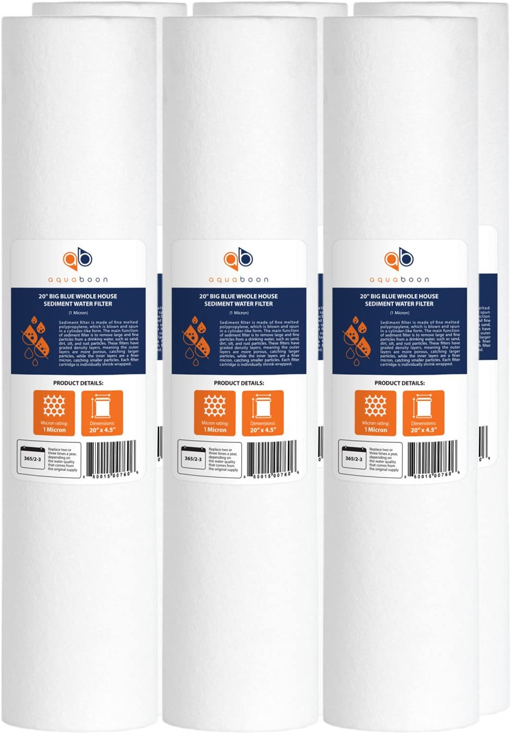 """Aquaboon 1 Micron 20"""" Big Blue Sediment Water Filter Replacement Cartridge 