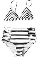 Cupshe Fashion Women's Stripe Pattern High-waisted Bikini Set Beach Swimwear