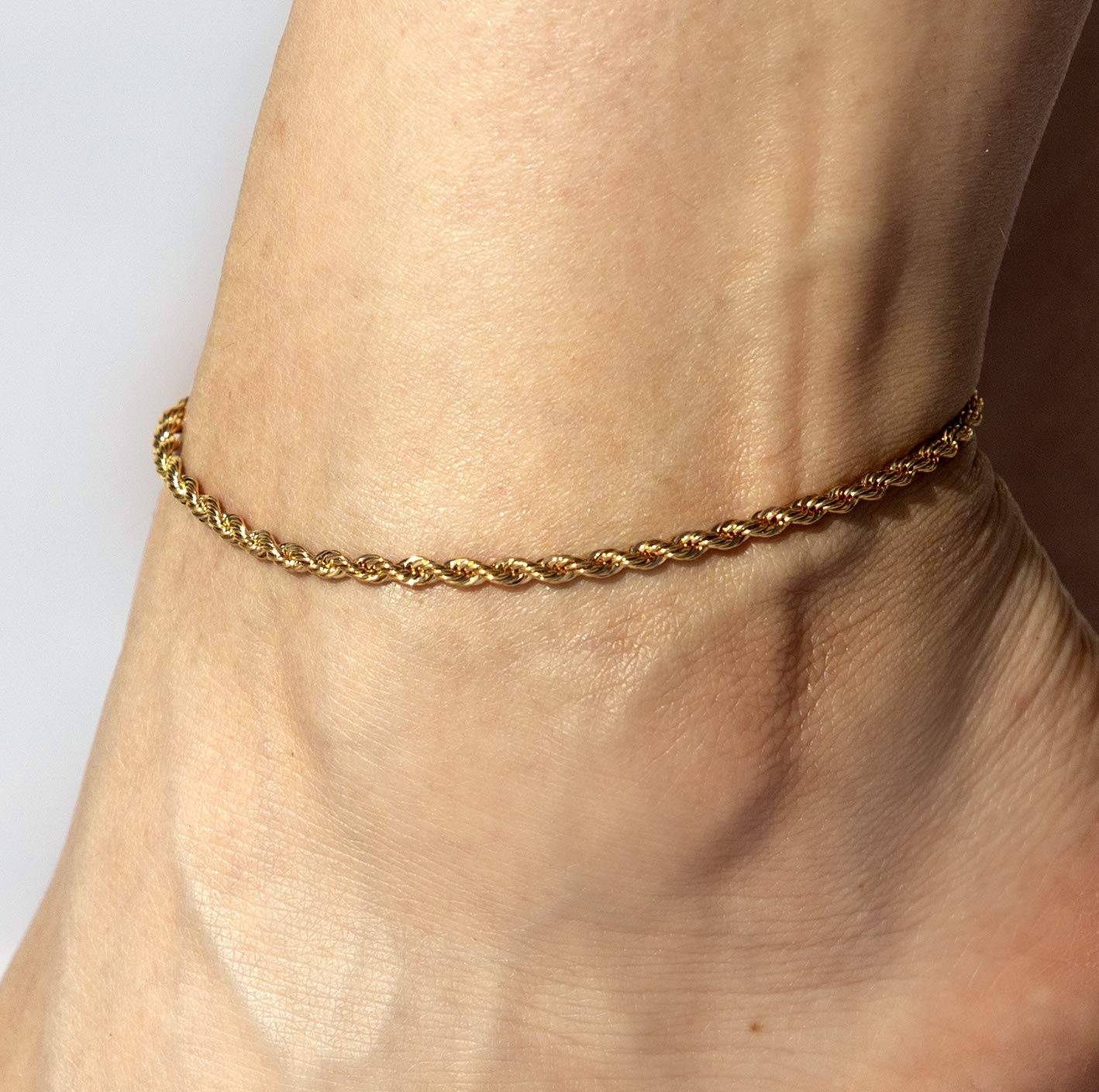 Lifetime Jewelry Ankle Bracelets for Women Men and Teen Girls - 3mm Rope Chain Anklet - Up to 20X More Real 24k Gold Plating Than Other Barefoot Chains (Gold-Plated-Bronze, 9.0) by Lifetime Jewelry (Image #6)
