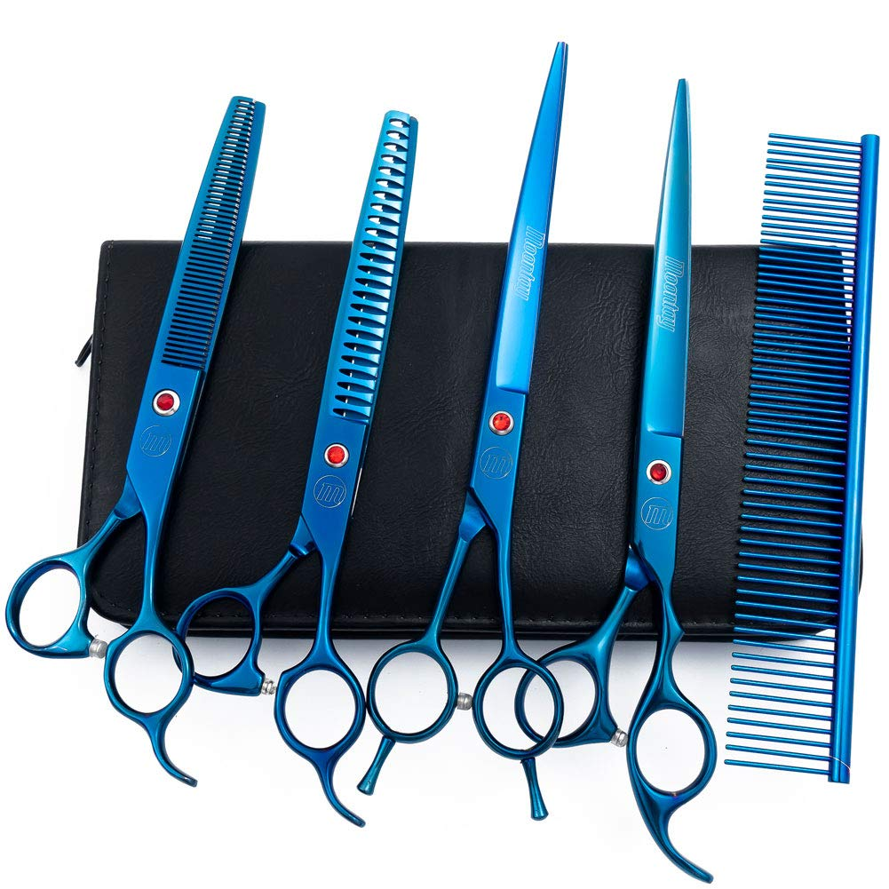 Moontay Professional 8.0'' Pet Grooming Scissors Set, 4-Pieces 440C Japanese Steel Straight & Curved & Thinning & Chunker Shears/Scissors with 1 Grooming Comb for Dog Cat and More Pets, Blue