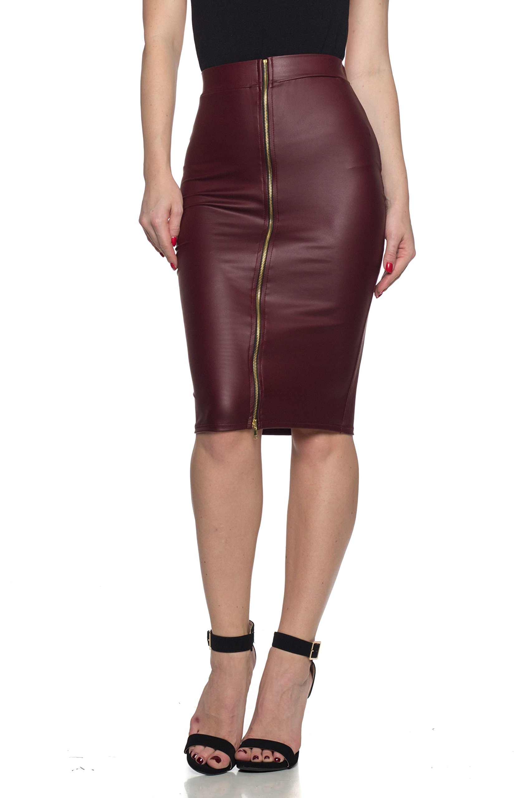 Women's J2 Love Faux Leather Zip Up Pencil Skirt, Small, Burgundy