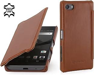 StilGut Book Type Case Senza Clip, Custodia in Vera Pelle a Libro per Sony Xperia Z5 Compact, Cognac
