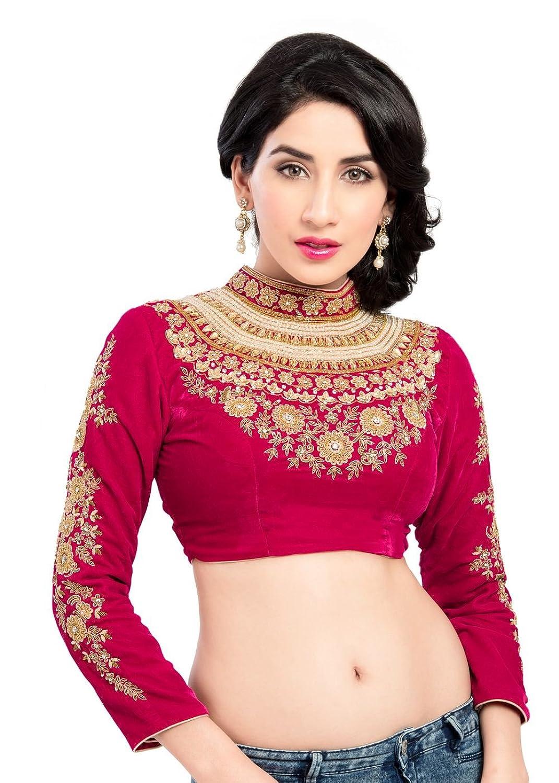 amazon com maharana full sleeve pink velvet saree blouse sari