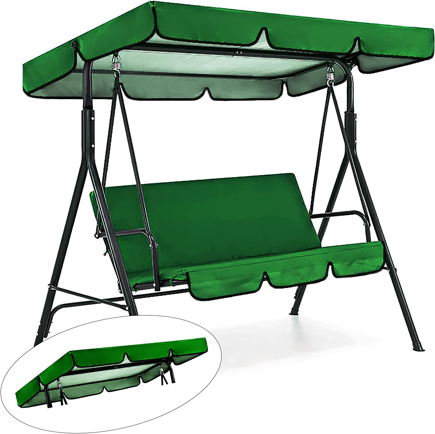 Patio Swing Canopy Replacement Top Cover, Premium Waterproof Porch Swing Cover with Canopy, Outdoor Garden Swing Top Dustproof Cover for Courtyard Sun Shade, Top Cover Only (Green)