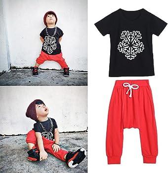 Bekleidung Longra Kleinkind Kids Jungen statten Sie warme Kleidung Langarm T-Shirt Tops Lange Hosen 1Set (2-7Jahre