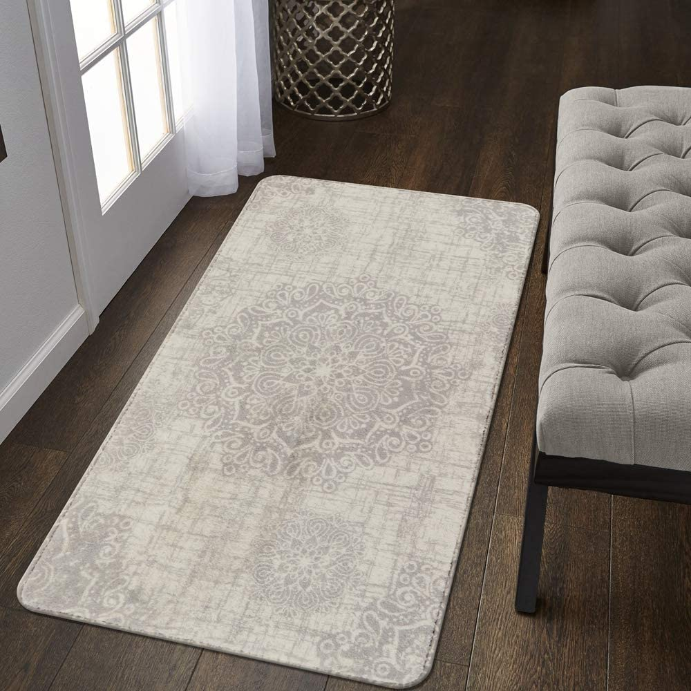 Lahome Vintage Medallion Area Rug - 2' X 4' Non-Slip Distressed Area Rug Small Accent Throw Rugs Floor Carpet for Door Mat Entryway Bedrooms Laundry Room Decor (2' X 4', Gray)