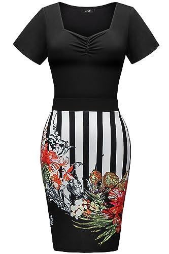 Creti Women Pencil Sheath Stripe Floral Wear to Work Cocktail Bodycon Summer Dresses