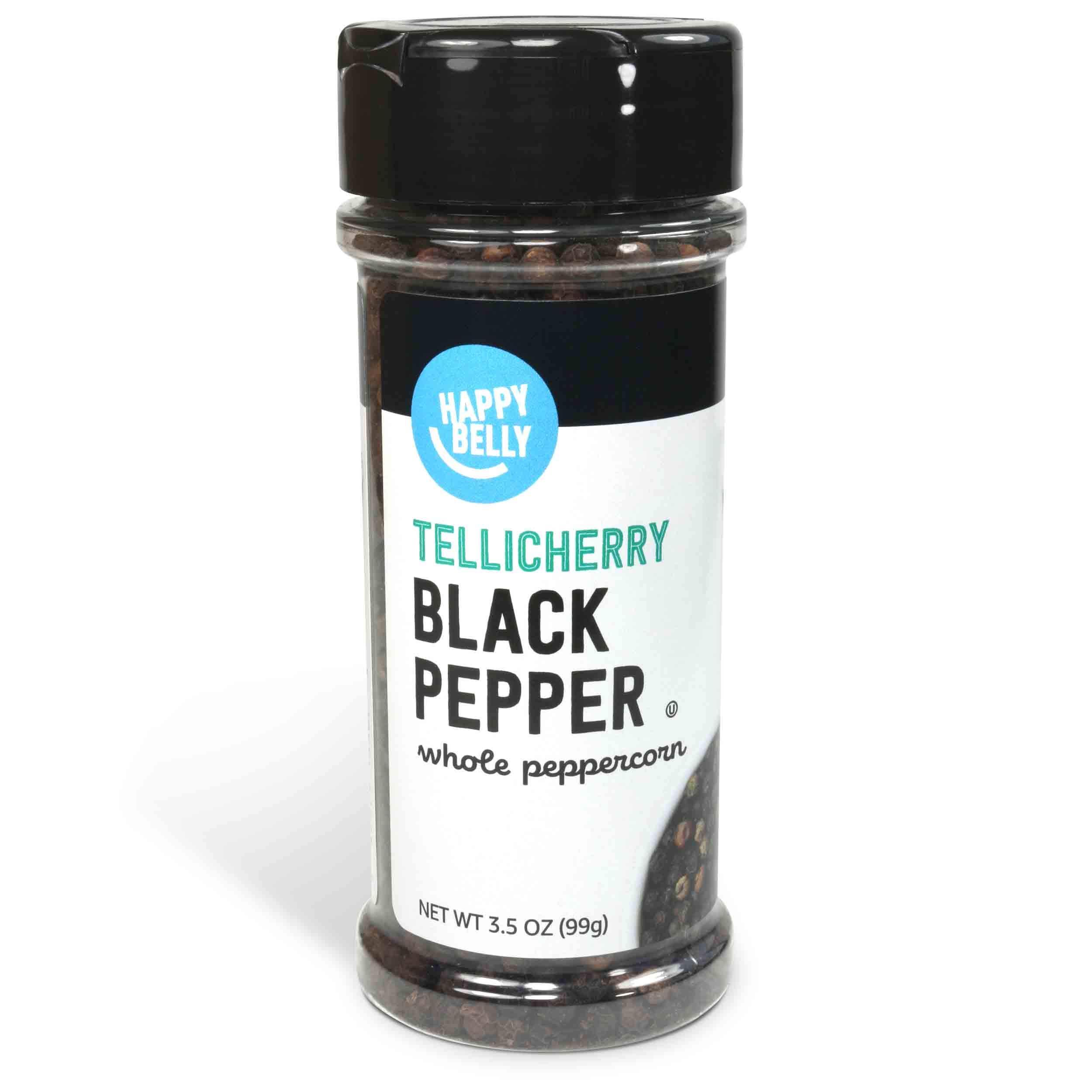Amazon Brand - Happy Belly Tellicherry Black Pepper, Whole Peppercorn, 3.5 Ounces