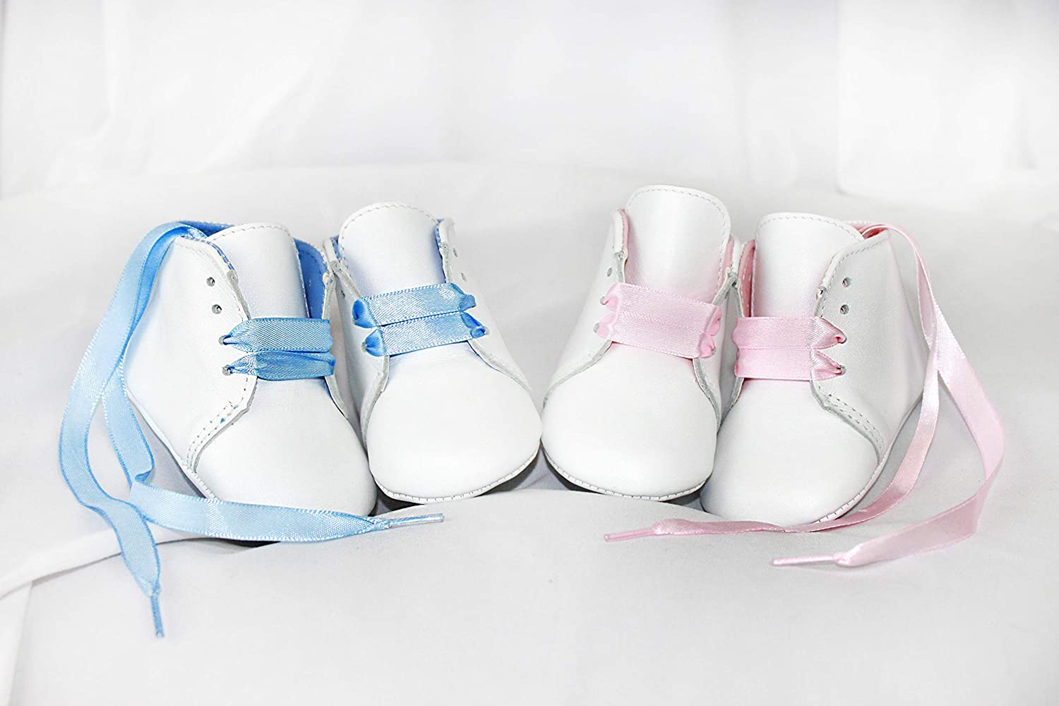 Babyshoe.com Personalized Leather Newborn Lace Up Shoes with Blue Ribbon Laces