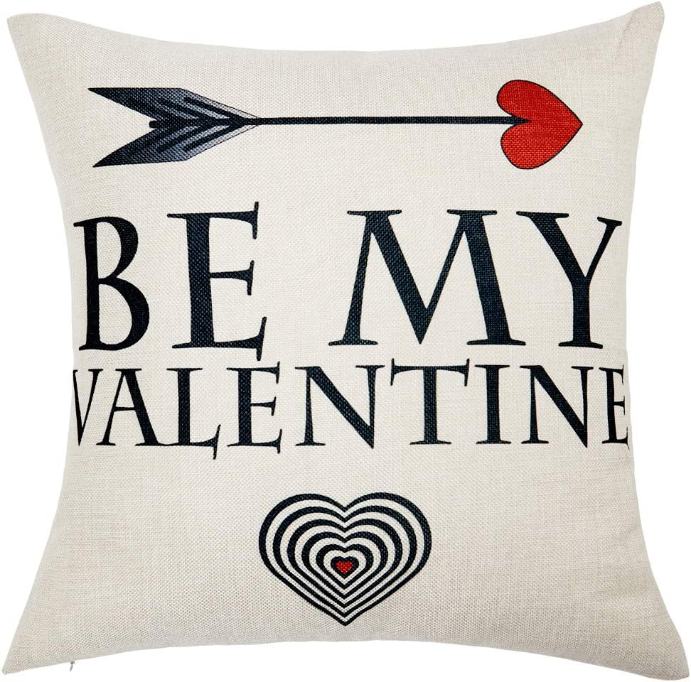 Anickal Valentines Pillow Covers 18x18 Inch for Valentine's Day Decorations Be My Valentine Quote Decorative Throw Pillow Covers Cotton Linen Cusion Cover for Home Farmhouse Decor