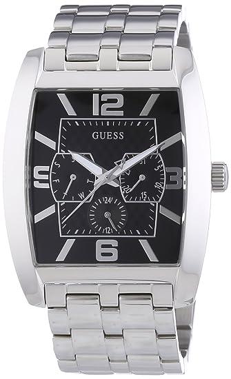 Guess W95015G1 - Reloj analógico de cuarzo para hombre con correa de acero inoxidable, color plateado: Amazon.es: Relojes