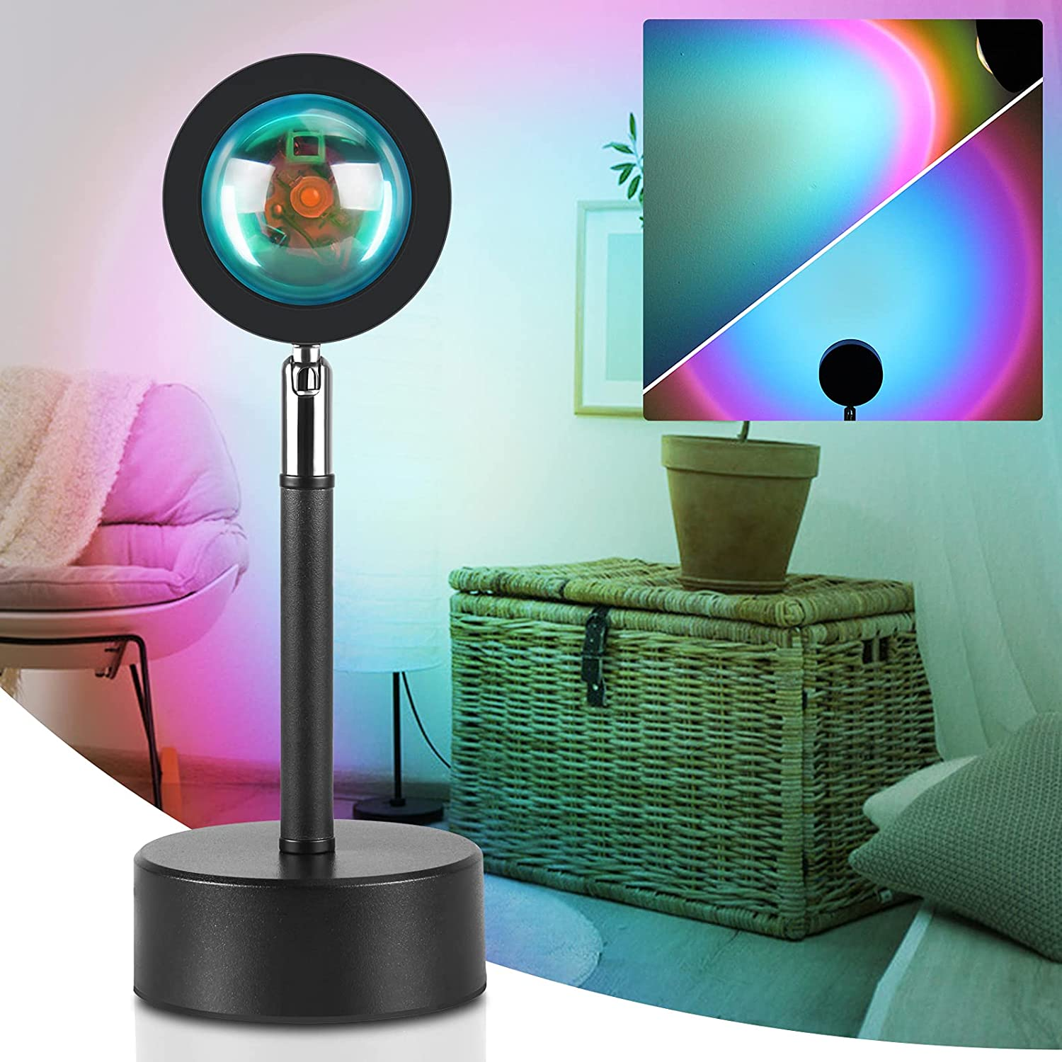 Sunset Lamp, GooDGo Night Light Projector Led Lamp, 180 Degree Rotation Sunset Night Light,USB Charging Romantic Led Light Rainbow Projection Lamp for Home Party Living Room Bedroom Decor (Colorful)