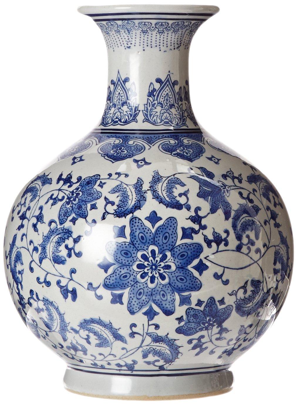 Amazon oriental furniture 12 floral blue white porcelain amazon oriental furniture 12 floral blue white porcelain vase home kitchen floridaeventfo Images