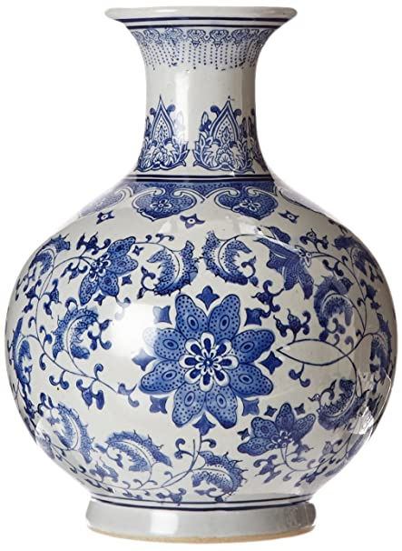 Amazon Oriental Furniture 12 Floral Blue White Porcelain