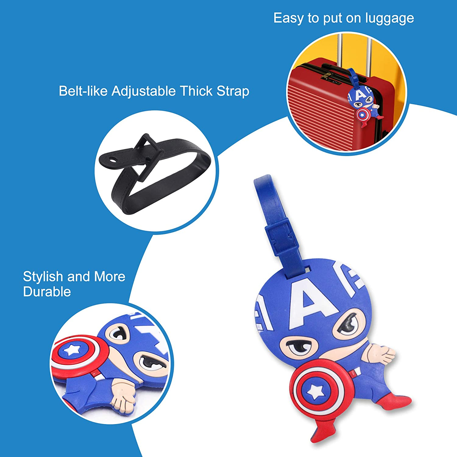 Finex 4 Pcs Set Avengers Captain America Iron Man Spiderman Silicone Travel Luggage Baggage Identification Labels ID Tag for Bag Suitcase Plane Cruise Ships with Belt Strap: Clothing