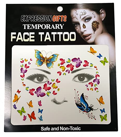 e22aff5c4 Amazon.com: Expression Gifts Butterfly Swirls - 2 Pack Face Tattoos ...