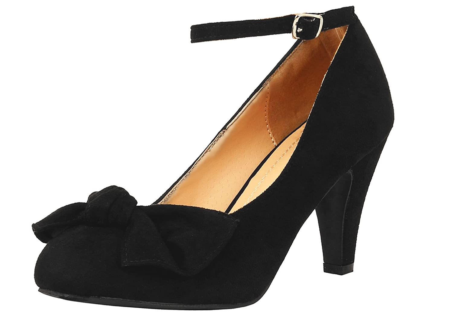 1940s Womens Footwear Chase & Chloe Women's Retro Kimmy-67 Bow Front Faux Suede Mary-Jane Pumps $39.89 AT vintagedancer.com