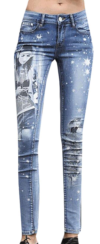 Jaycargogo Womens High Waist Embroidered Ripped Denim Skinny Jeans Pants