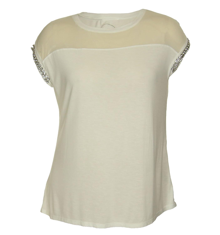 839198c2b73 International Concepts Woman INC Women s Plus Size Short Rhinestone Sleeve  Sheer Yoke Shirt 3X White at Amazon Women s Clothing store