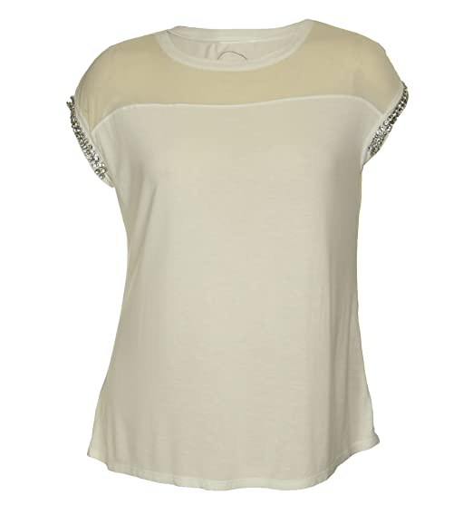 7448658c030 Image Unavailable. Image not available for. Color  International Concepts  Woman INC Women s Plus Size Short Rhinestone Sleeve Sheer Yoke Shirt ...