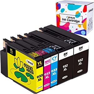 Hehua Compatible 932XL 933XL Ink Cartridges Replacement for HP 932 933 XL High Yield for HP Officejet 7510 6100 6700 6600 7110 7610 7612 Printer (2Black, Cyan, Yellow, Magenta, 5 Packs)
