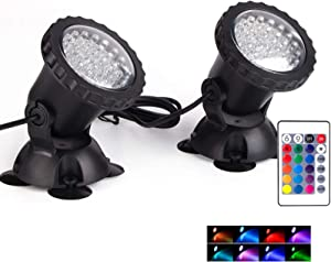 Pond Light Waterproof IP68 Underwater Color Changing Landscape Lights Dimmable Submersible Spotlight 36 LED Decorate Lighting for Pond Aquarium Garden Pool Yard Lawn Fountain Waterfall(Set of 2)