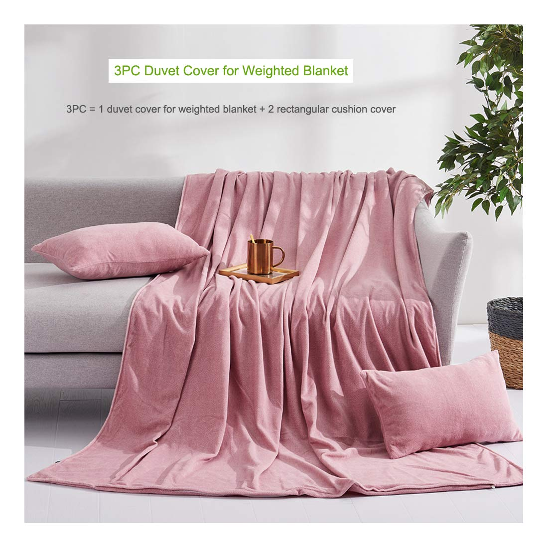 Taiyihome Adult Removable Duvet Cover for Weighted Blanket, Ultra Soft Velvet Machine Washable Easy to Clean, Heavy Blanket Protector, Weighted Blanket Cover (Camel Pink, 60''×80'') by Taiyihome