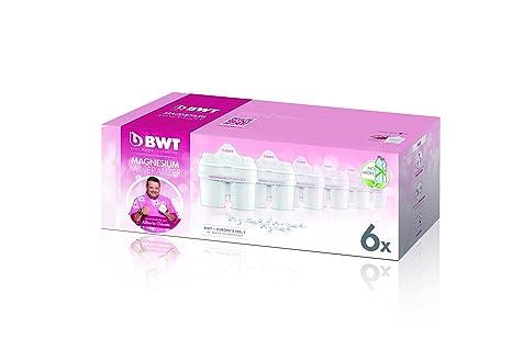 BWT 814336 Pack 6 filtros Jarra de Agua con magnesio Longlife mg2+, Polímeros Plásticos,