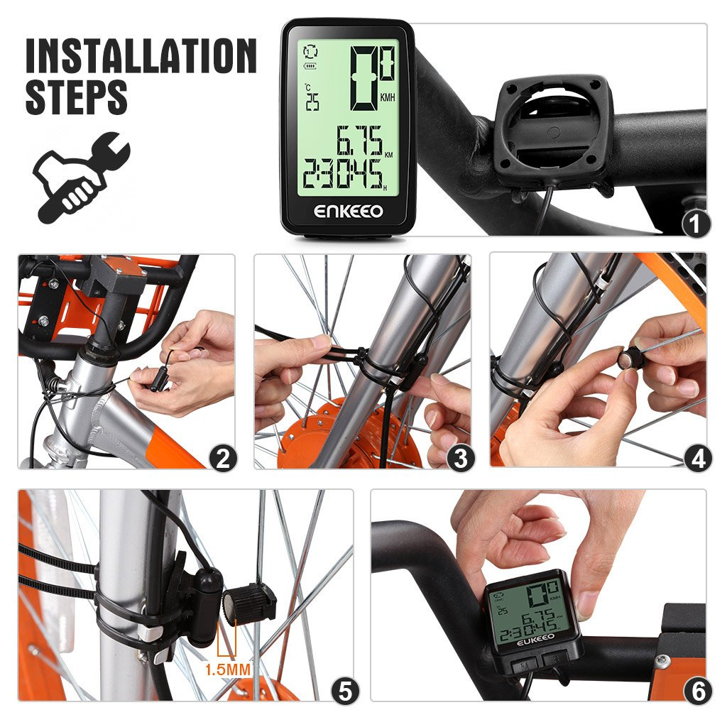 f5ac648b149 ENKEEO Wired Bike Computer USB Rechargeable Bicycle Speedometer Odometer  with 12 Hour Backlight Display