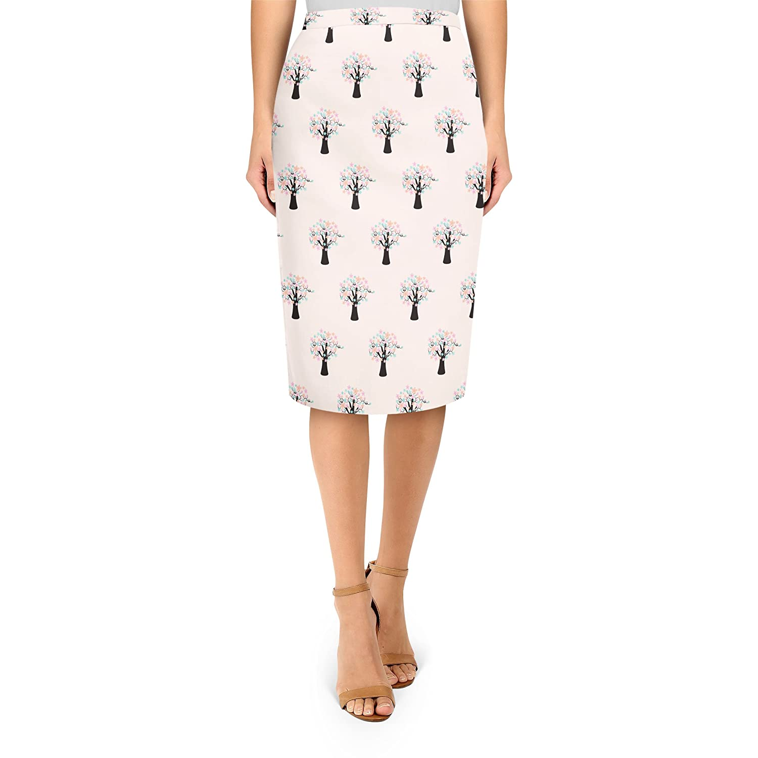 Owls in Blossom Trees Midi Pencil Skirt