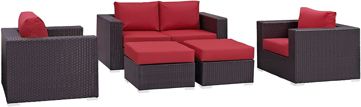 Modway Convene Wicker Rattan 5-Piece Outdoor Patio Furniture Set with Cushions in Espresso Red