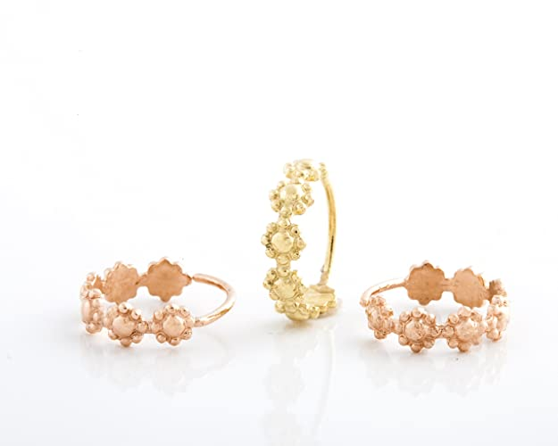 fbec73649 Image Unavailable. Image not available for. Color: Small Hoop Earrings, 14k  Yellow OR Rose Gold Indian Style Tiny Flowers ...