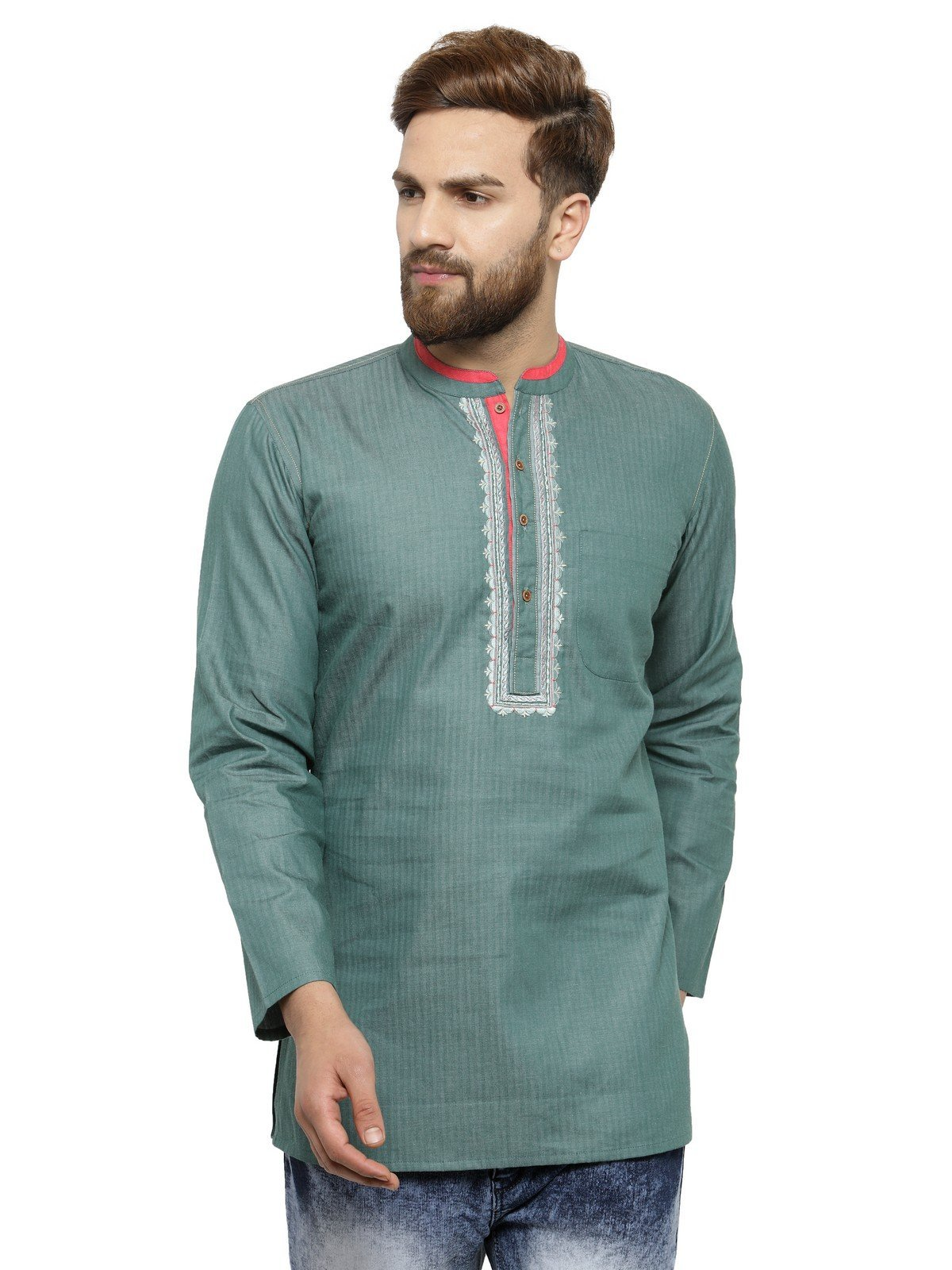 Apparel Men's Cotton Designer Short Kurta 42 Green by ARCH ELEMENTS (Image #1)