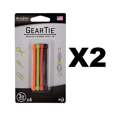 2X Nite Ize GT3-4PK-A1 Gear Tie Reusable 3-Inch Rubber Twist Tie, Assorted Colors: Automotive