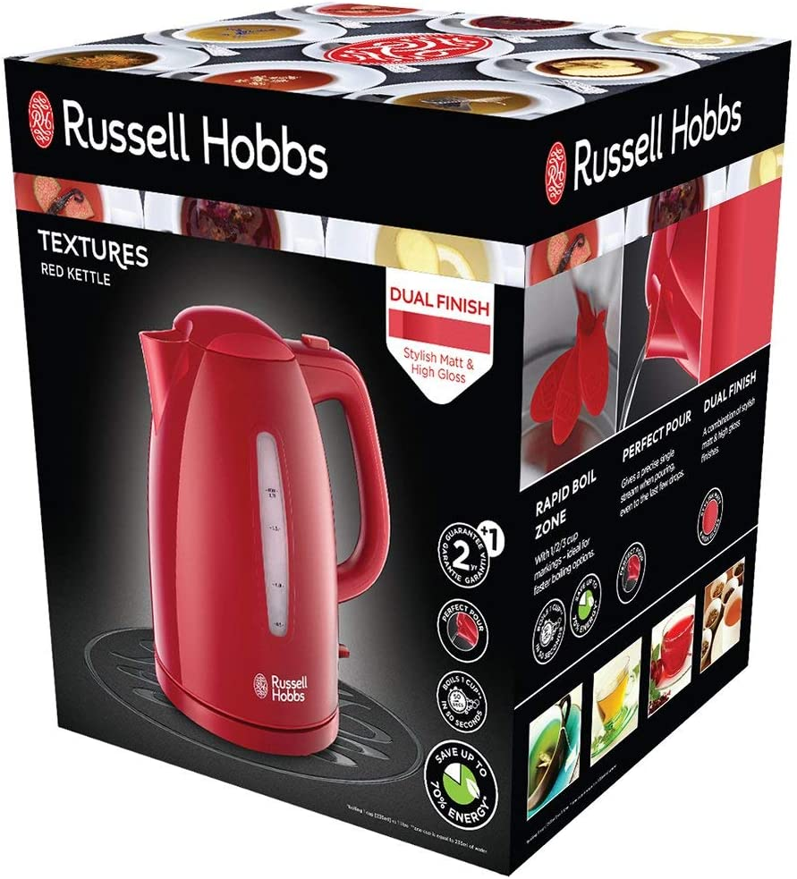 Russell Hobbs 21272 70 Bouilloire 1,7L Texture, Ebullition Ultra Rapide Rouge