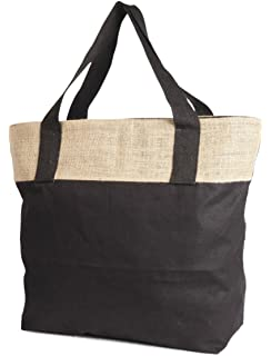 9a36aae3b9 Natural And Black Jute Burlap and Cotton Tote Bag with Zippered closure cotton  handles Size 20