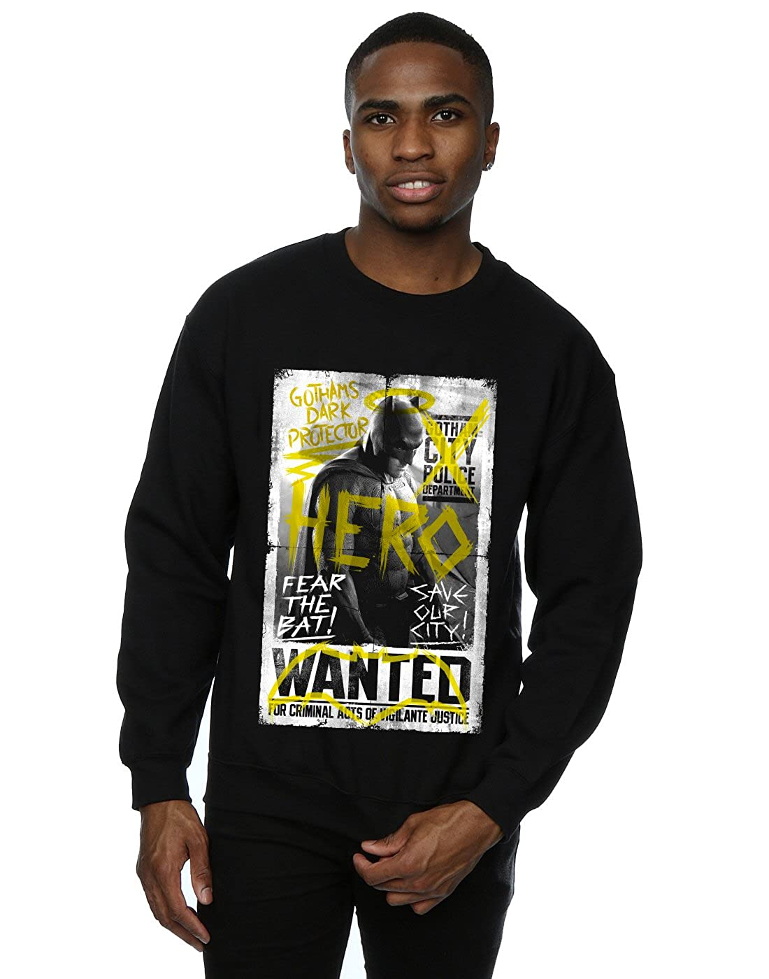 DC Comic Homme Batman v Superman Wanted Poster Sweat-Shirt Absolute Cult