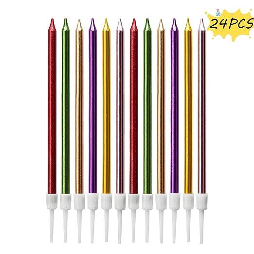 LUTER Metálico Velas de Cumpleaños Velas de Pastel Cirios con Soporte para la Decoración del Banquete de Boda de Cumpleaños (24 Piezas)