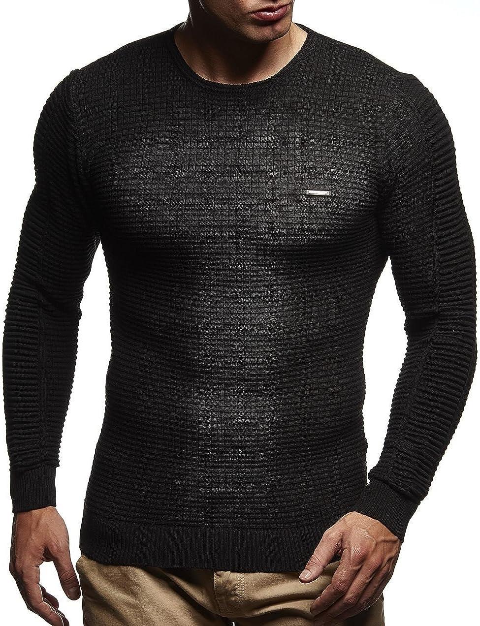 Leif Nelson Mens Sweater Long Sleeve Crew Neck Sweatshirt LN-180109