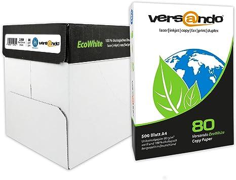 versando - 2500 folios de papel EcoWhite A4 80 g – papel para ...