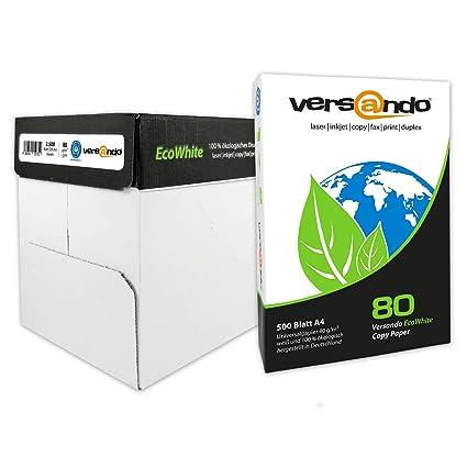 versando - 2500 folios de papel EcoWhite A4 80 g – papel para fotocopiadora, impresora, impresora láser, fax, papel reciclado