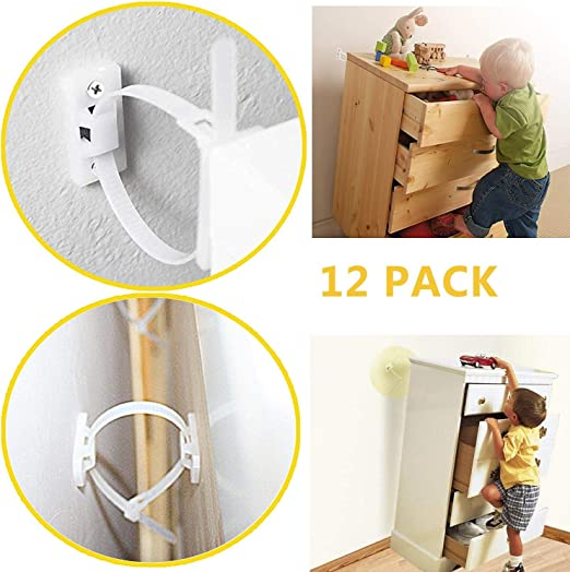 8 Furniture Brackets Wall Secure Straps Easily Detachable Kids Safety Protection