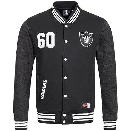 Majestic Oakland Raiders Lutkin Letterman NFL chaqueta de fútbol americano, A6ORA6509BLK001