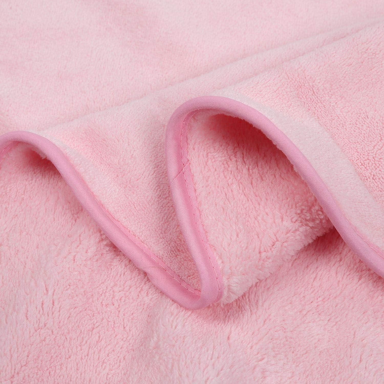 SODIAL Serviette de B/éB/é Nouveau-N/é Bain Confortable Doux B/éB/é Peignoir /à Capuche Mignon Animal Plage Coton Serviette Enfants B/éB/éS Couverture Rose
