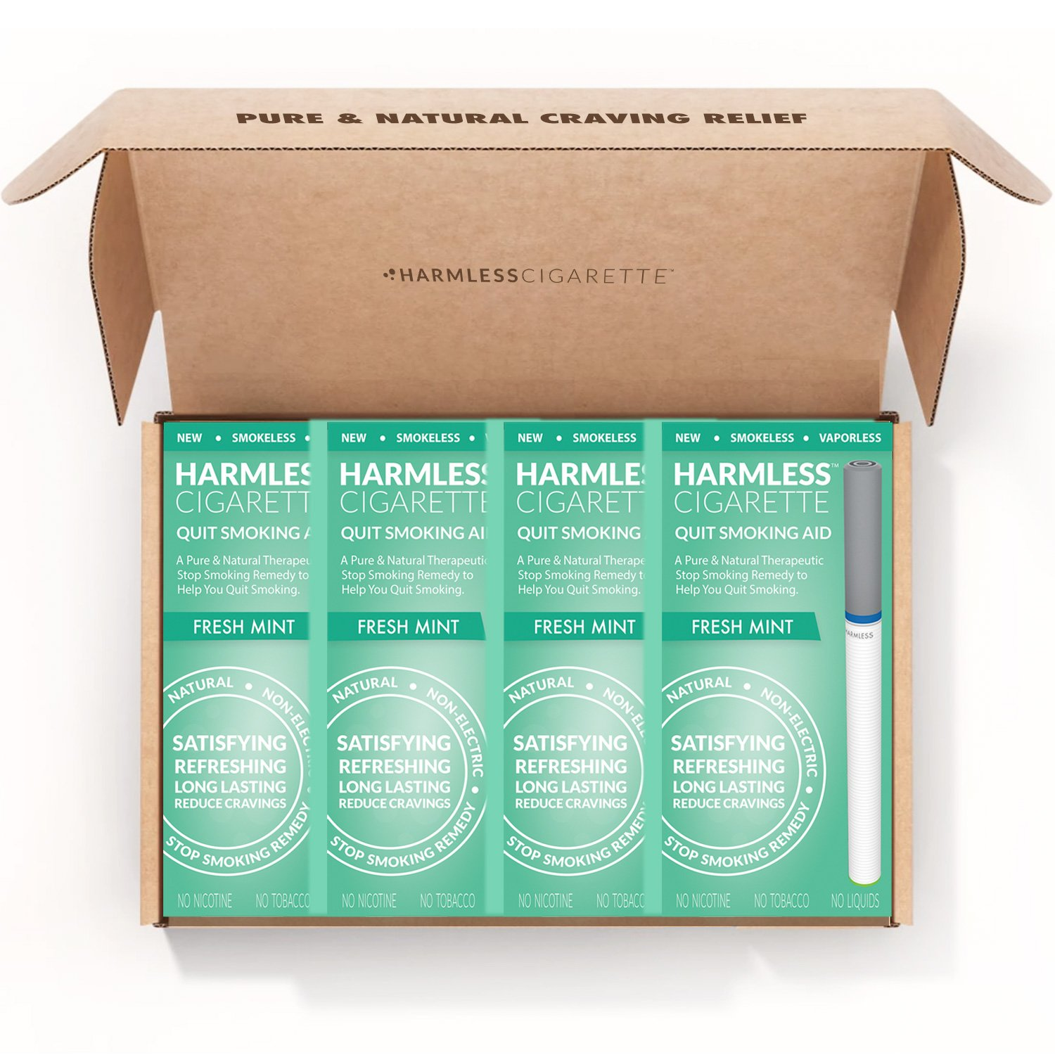 Harmless Cigarette/4 Week Quit Kit/Stop Smoking Aid/Includes FREE Quit Smoking Support Guide.(4 Pack Quit Kit, Fresh Mint)