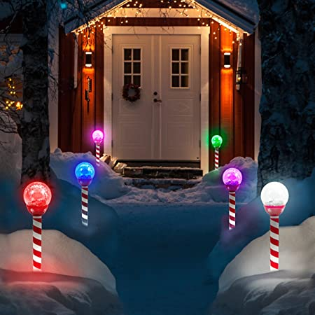 Solar Christmas Pathway Lights.6pk Led Solar Pathway Lights Christmas Crackle Color