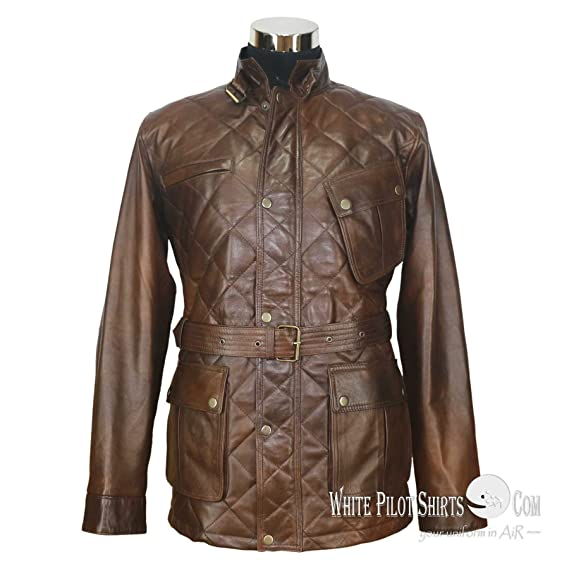fashion style clear-cut texture sale uk Panther leather jacket for Men Quilted Padded Military style ...